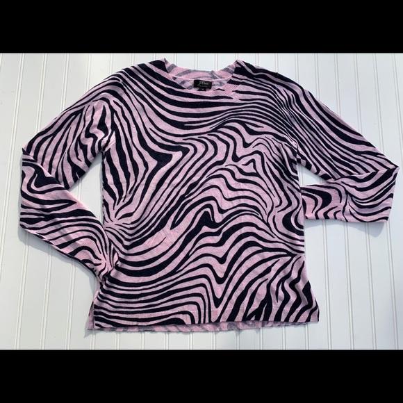 J Crew JCrew Zebra Stripe Cashmere Sweater Medium